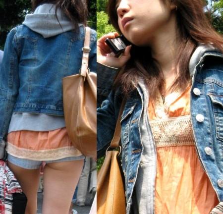 ホットパンツ&生足で街を歩く女性たち (19)