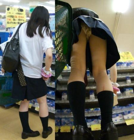 制服からパンチラしてる女子校生 (9)