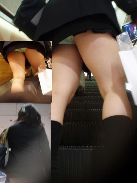 ミニスカート状態のJKスカートからパンチラ (16)