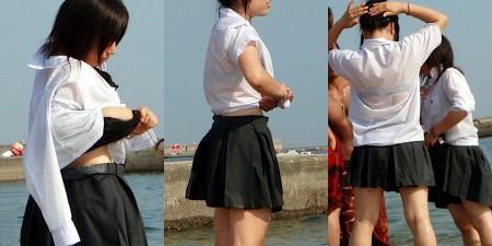制服の白いブラウスから透けブラしている女子高生 (14)