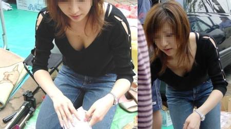 素人女性の胸チラおっぱい (12)