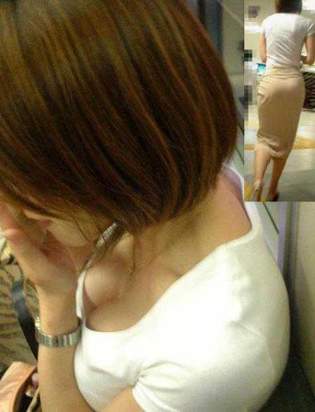 素人女性の胸チラおっぱい (13)