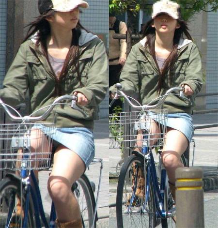 自転車パンチラ (6)