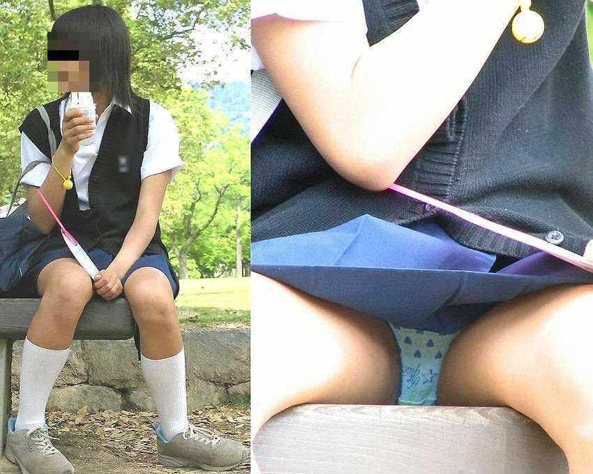 スカートから見えてるJK (15)