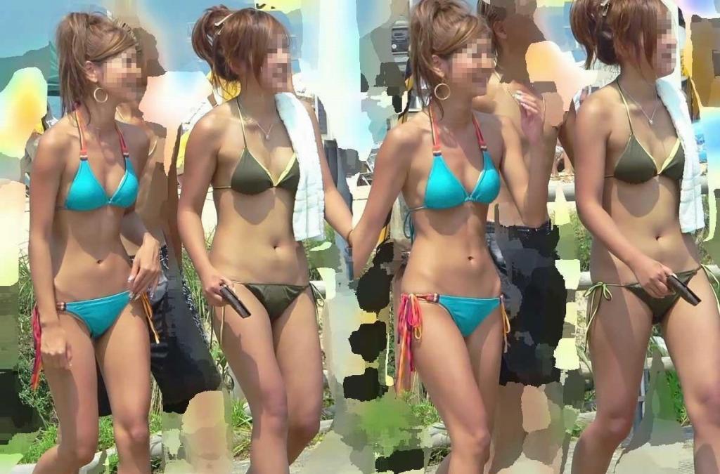 ビーチの水着娘が健康的エロ (4)