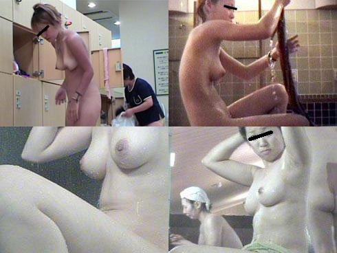 女風呂で脱衣して体を洗う女の子 (3)