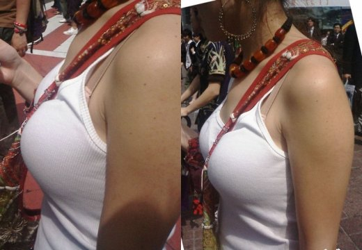 デカい乳房の間に紐が挟まれてパイスラッシュ (8)