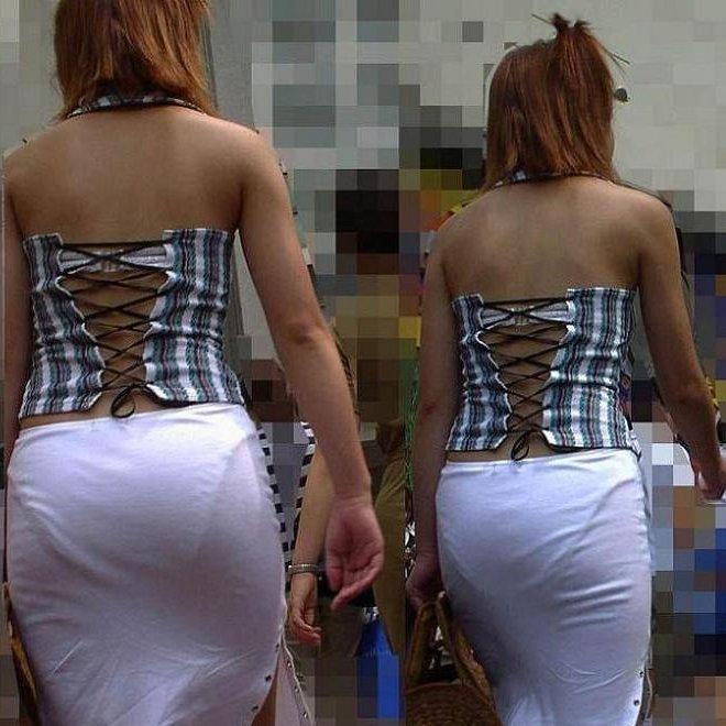 洋服を着ているのに下着がスケスケな女の子 (1)
