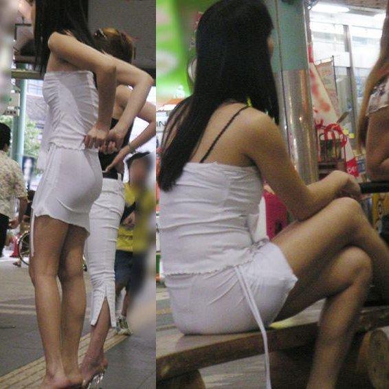 パンツが透けてるのに気付かずに歩いてる、素人女性たちを街撮り