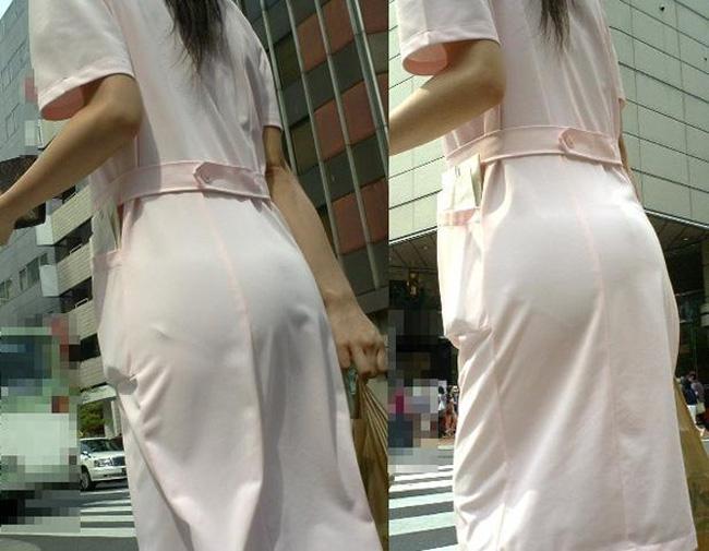 下着が透けているのに街を歩く女の子 (17)