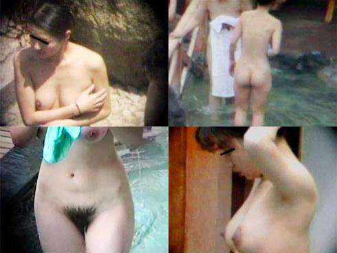 露天風呂に入浴中の女の子 (12)