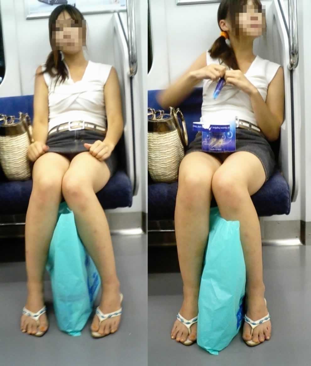 シート正面の無防備な女の子は下着がチラチラ (19)