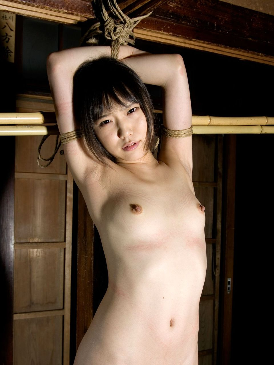 縄で体中を縛り上げられている女の子 (2)