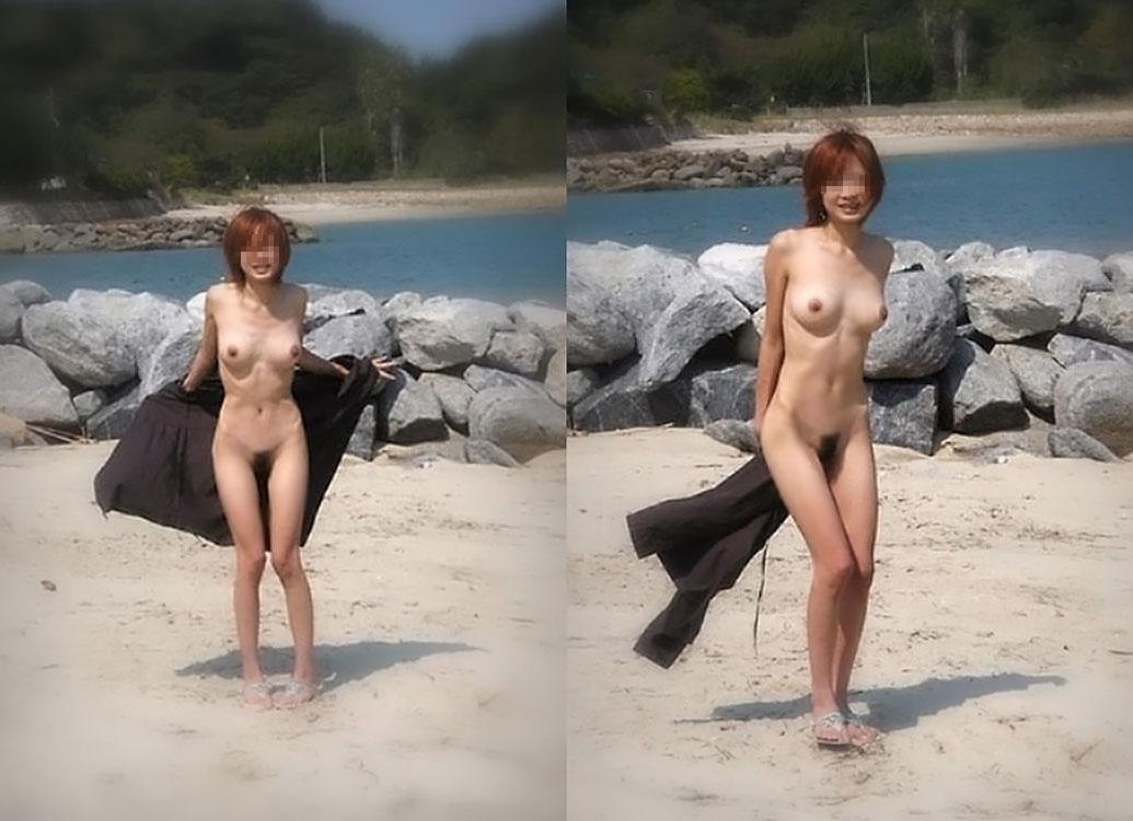 海岸で水着まで脱いで素っ裸になっちゃった女の子 (5)