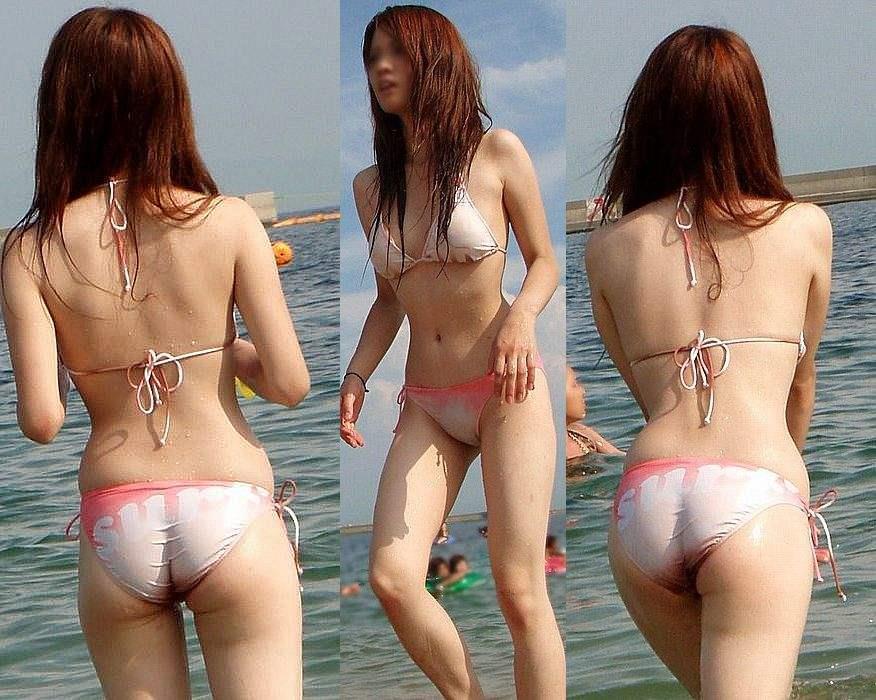 海岸で遊んでいる水着の素人さんがエロい (20)