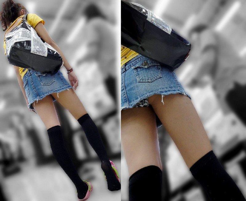 短いスカートを穿いて下着が丸見え (2)