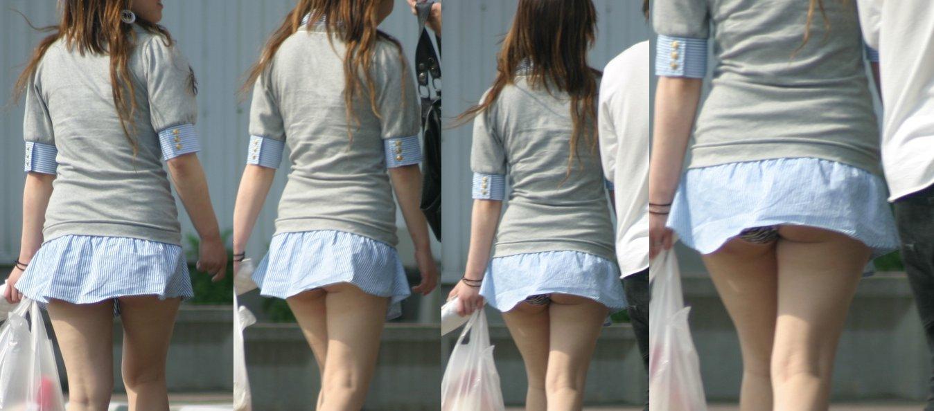 短いスカートを穿いて下着が丸見え (3)