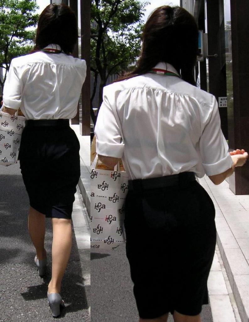 背中から下着が透けている女の子 (7)
