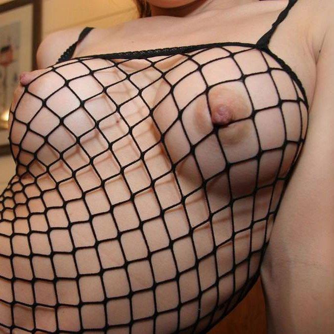 網の目から裸が見えているランジェリー (1)