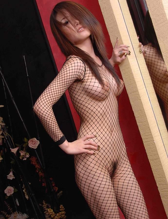 網の目から裸が見えているランジェリー (15)