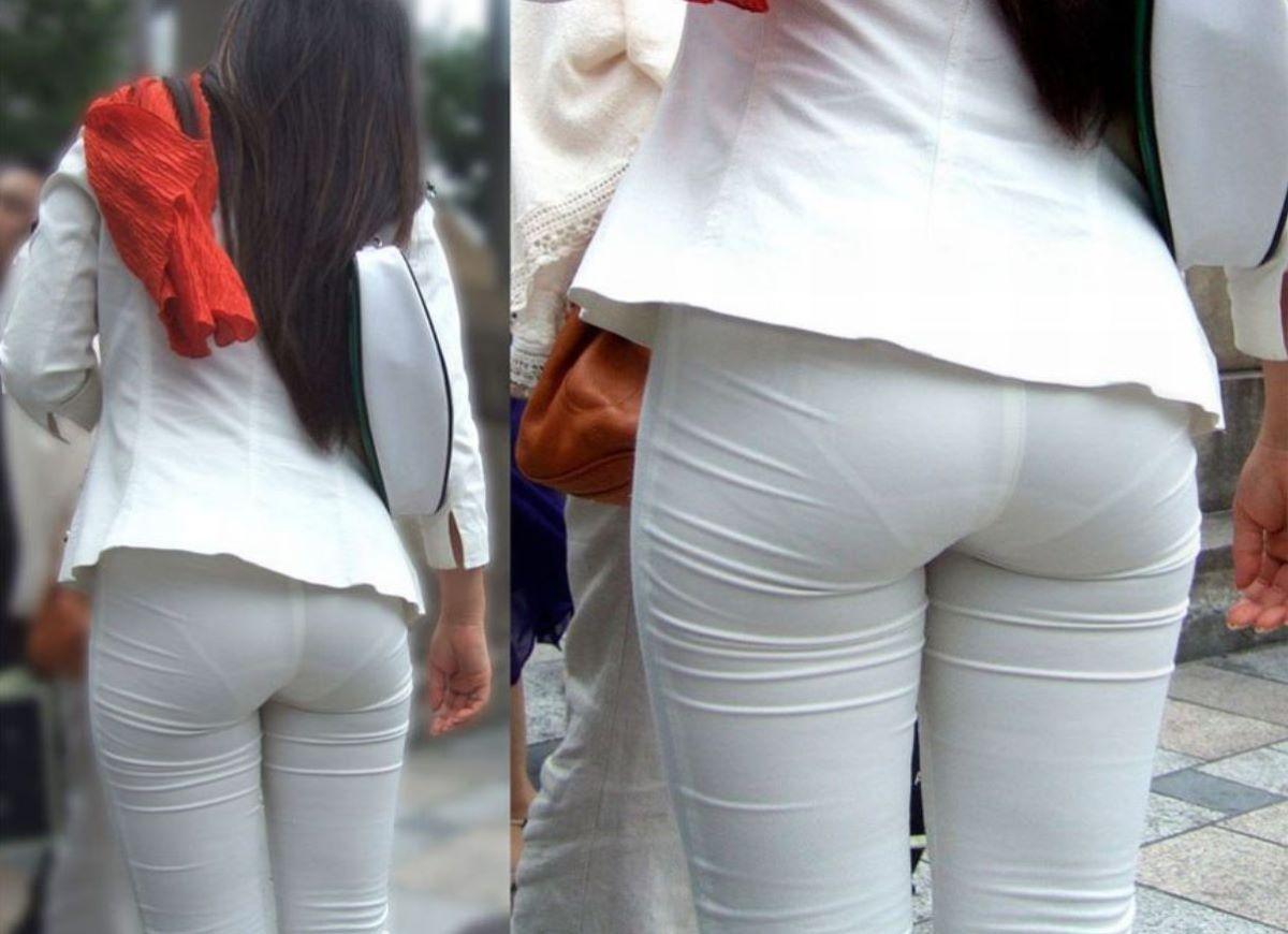 お尻側から下着が透けてる素人さん (4)