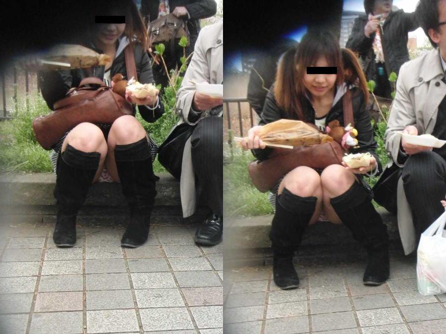 スカートの中からパンツがモロ見えになっている素人さん (5)