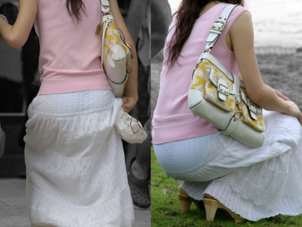 スカートやズボンから下着が透けてる素人さん (9)