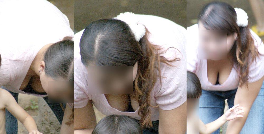子連れの人妻の巨乳の谷間がチラチラ (6)