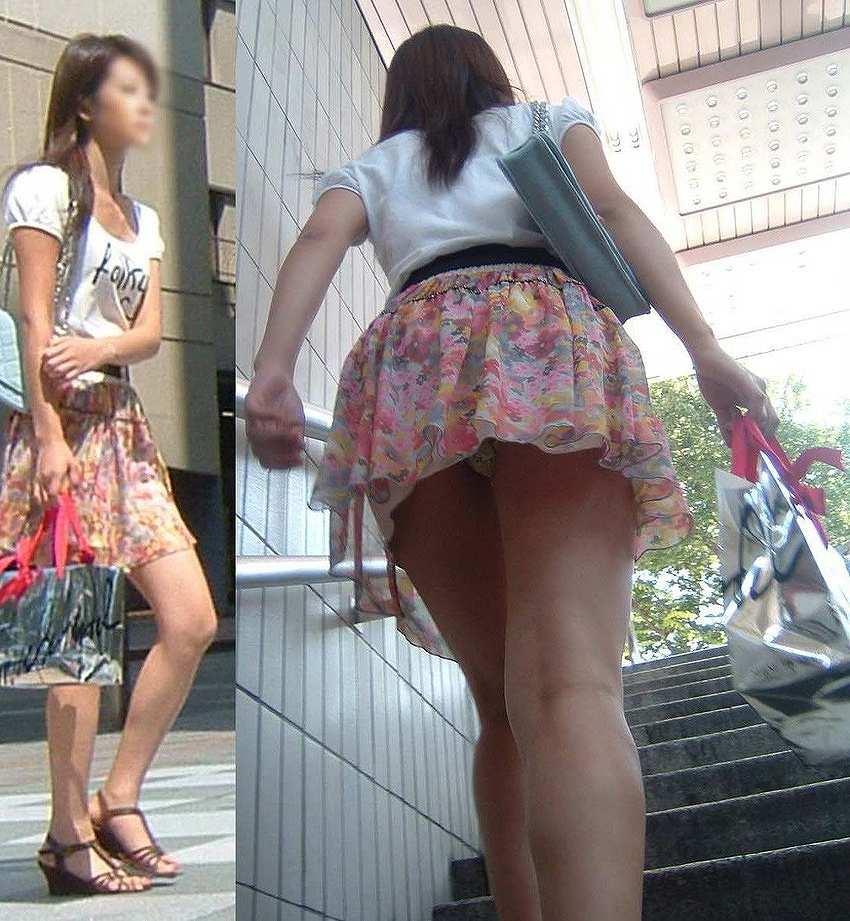 見上げるとスカートの中から下着がチラチラ (20)