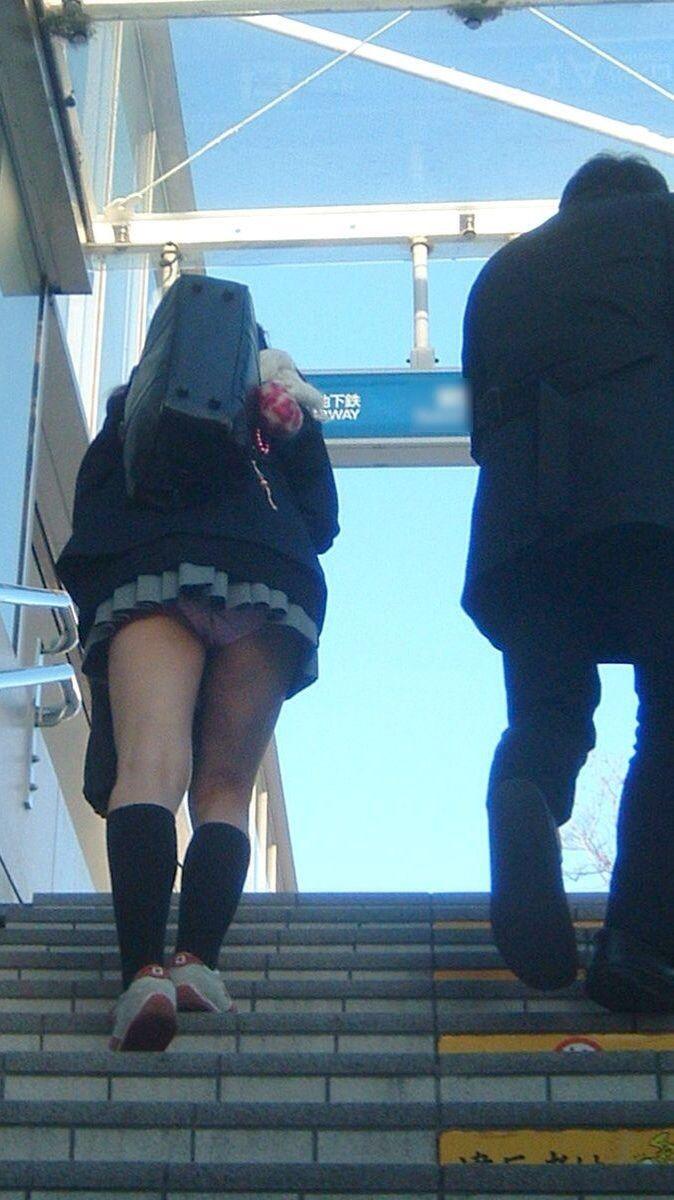 見上げるとスカートの中から下着がチラチラ (6)