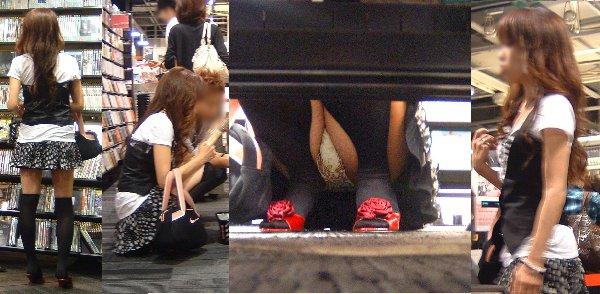 スカートの隙間から下着がチラ見え (8)