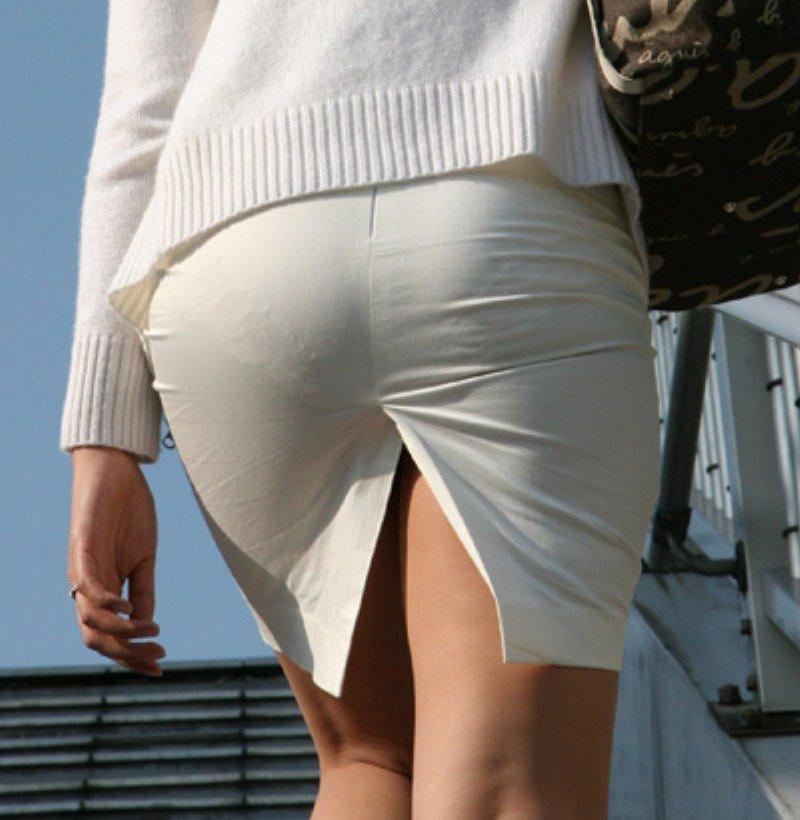 【ヒップライン エロ画像】タイトスカートから見える透けパンや尻の丸みを街撮り