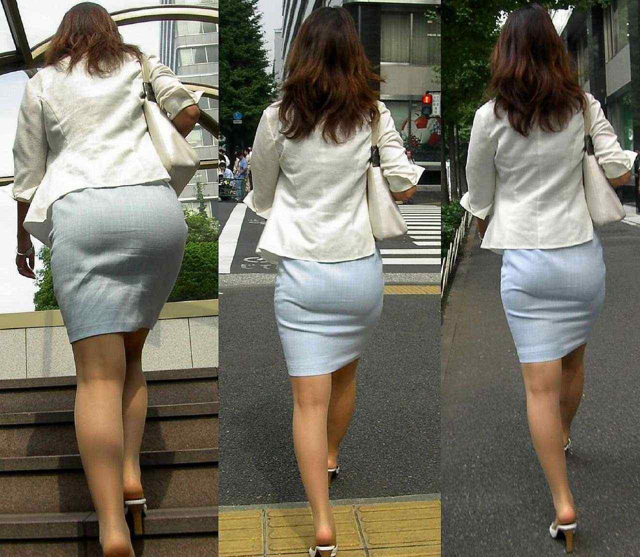 お尻にピタッと張り付いているスカート (6)