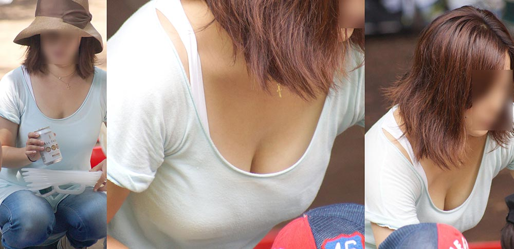 巨乳の素人さんが思いっきり胸チラ (9)