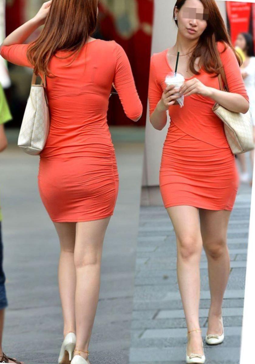 タイトスカートで尻や体のラインを強調する素人さん (6)