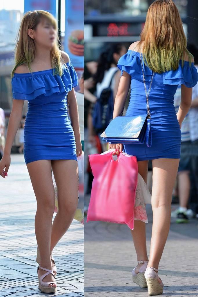 タイトスカートで尻や体のラインを強調する素人さん (19)