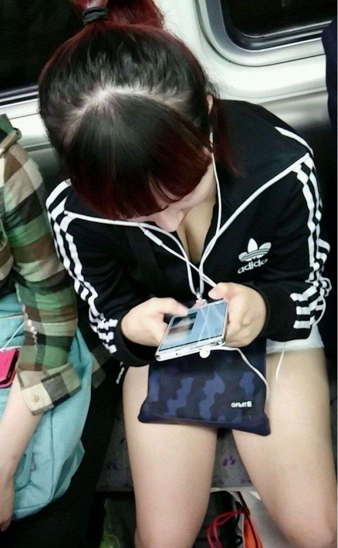電車の中は胸チラ女性を見放題 (15)