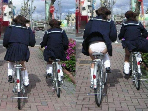 自転車からパンチラしてる女の子 (15)