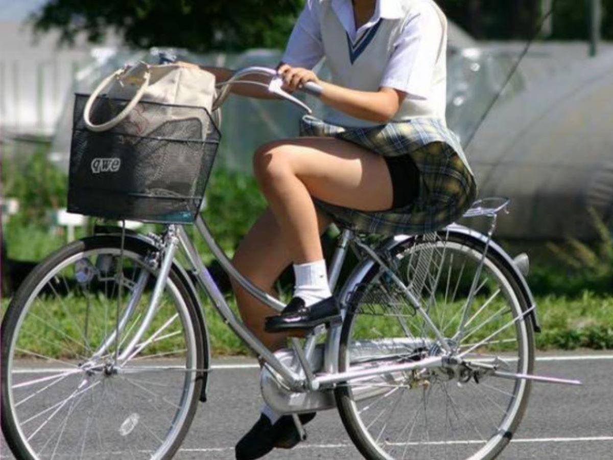 自転車からパンチラしてる女の子 (6)