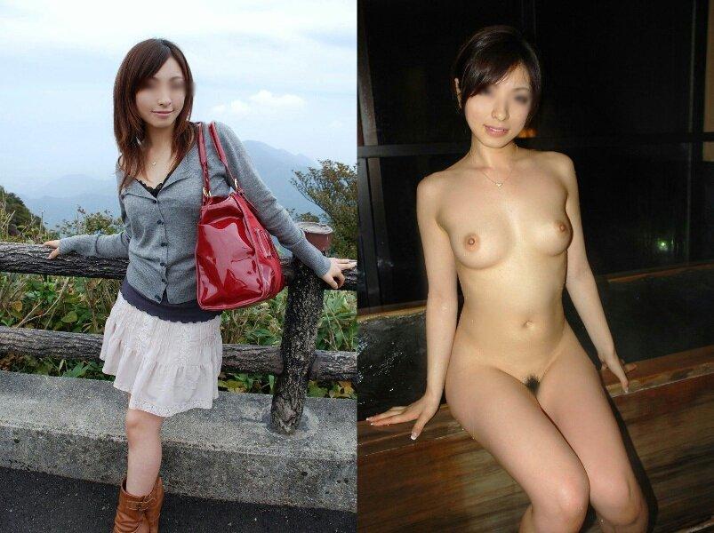 服を着た状態と全裸を見比べる (9)