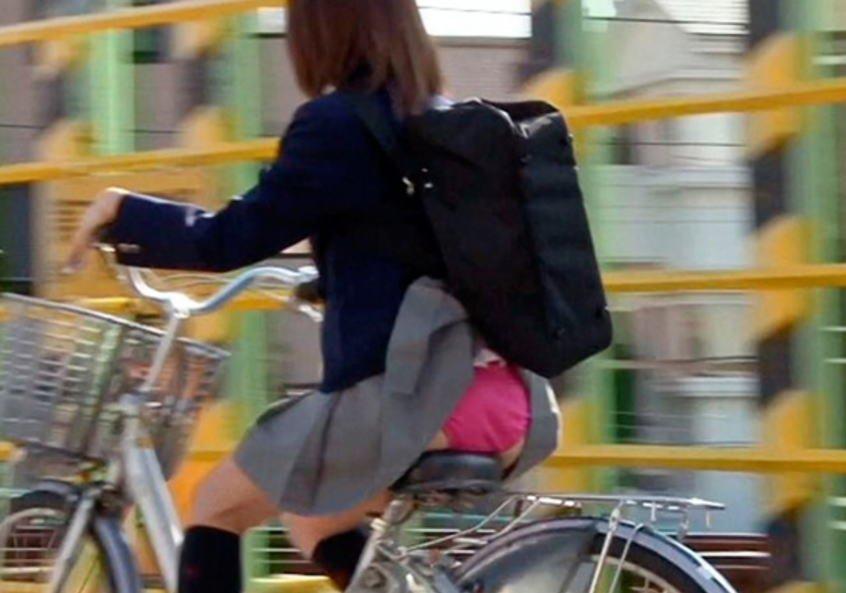 鞄と一緒にスカートが捲れてパンツ丸見え (19)