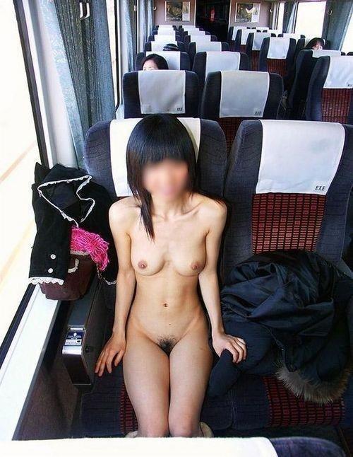 電車内で露出を楽しむ変態さん (19)
