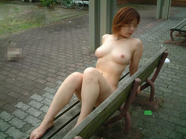 野外露出を楽しむヌード女性 (14)