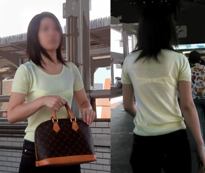 透けブラしてる女性を正面から見る (4)