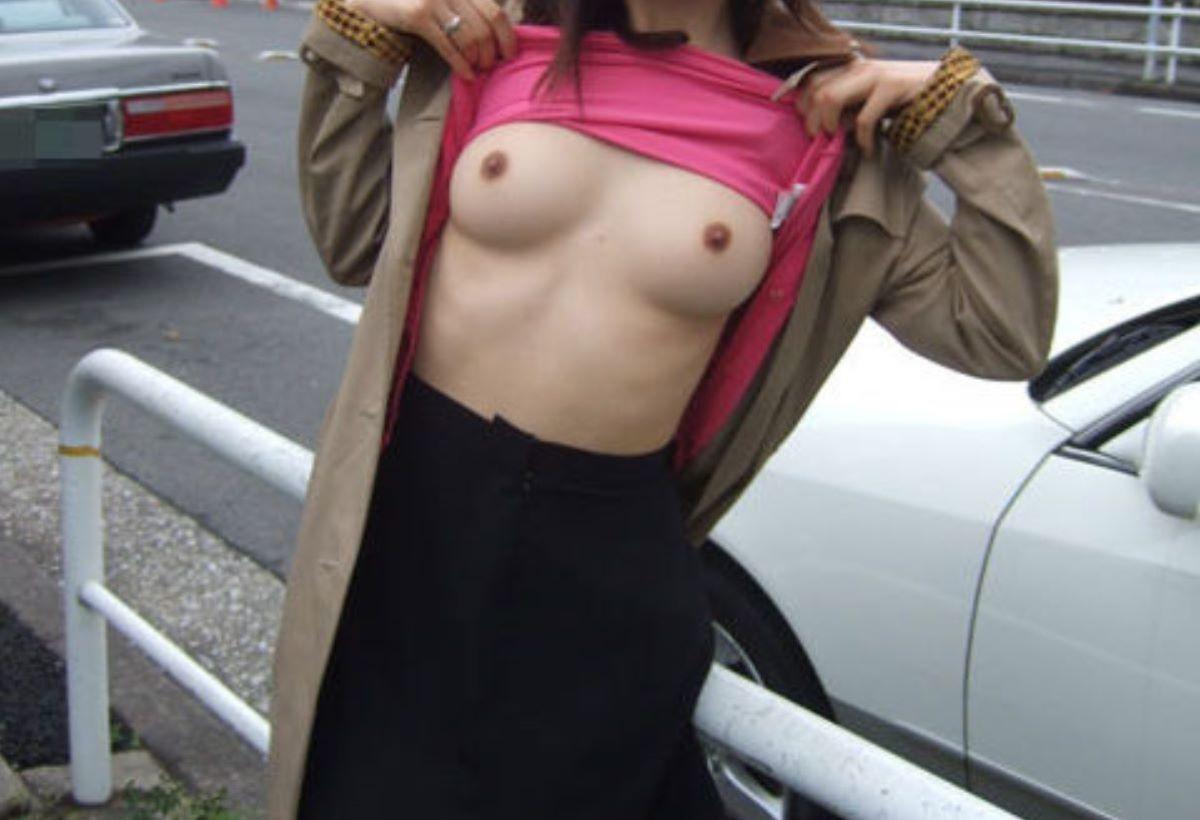 昼間の路上で裸になる変態女性 (14)