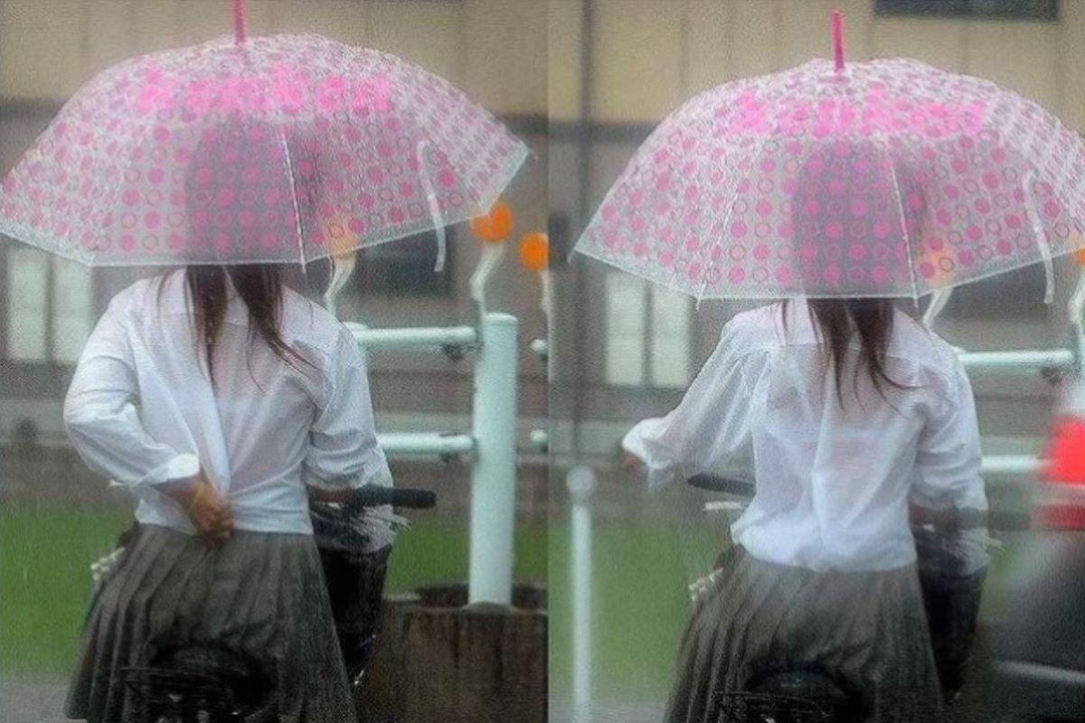 雨でブラジャーが透けたJK (8)