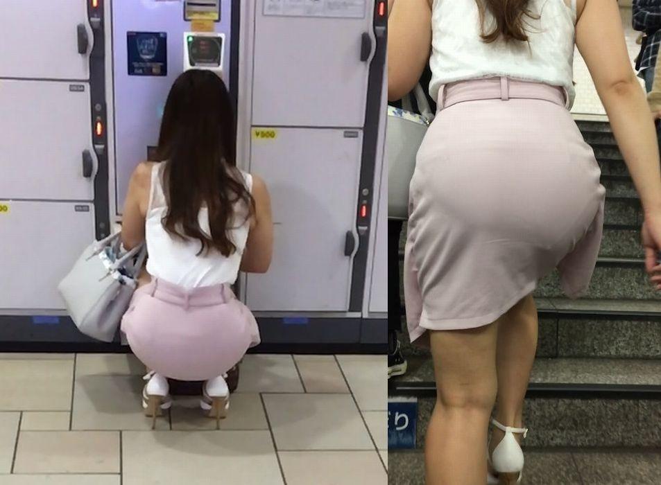 透けパン女子が街を行く (2)