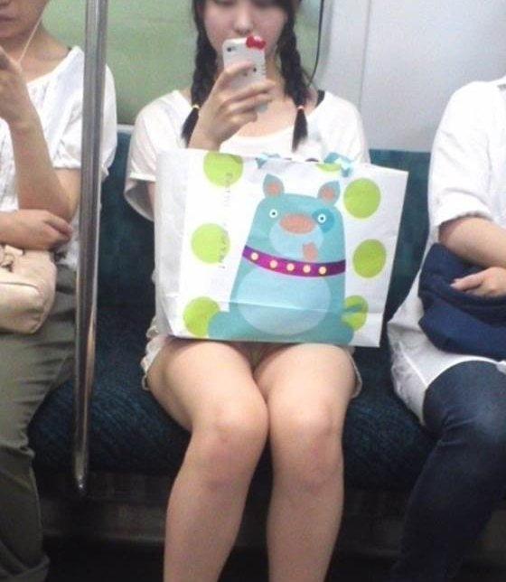 電車内でパンチラしてる (11)