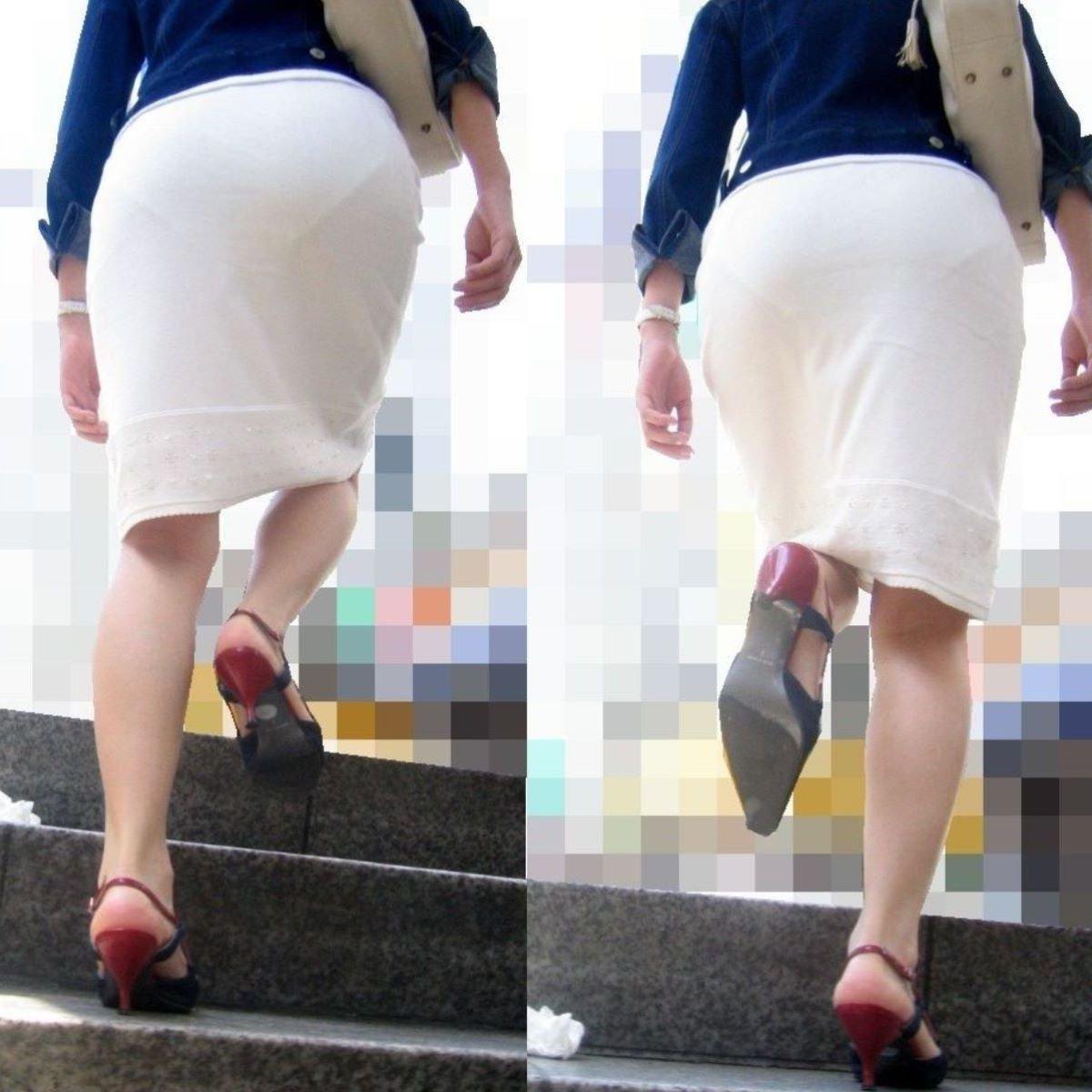 透けパンしてるタイトスカート姿の女性 (8)