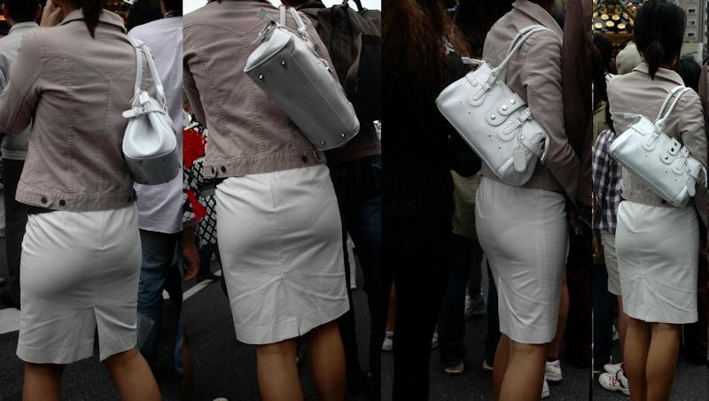 透けパンしてるタイトスカート姿の女性 (14)